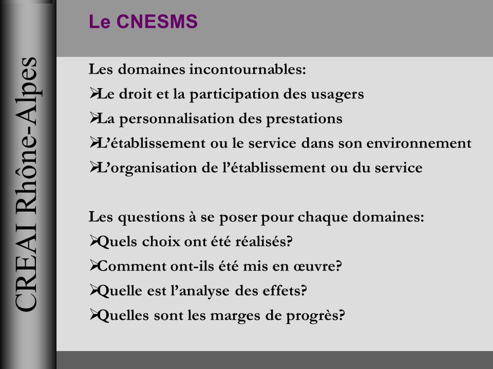 CREAI Rhône-Alpes Le CNESMS Les domaines incontournables: Le droit et la participation des usagers La personnalisation des prestations Létablissement
