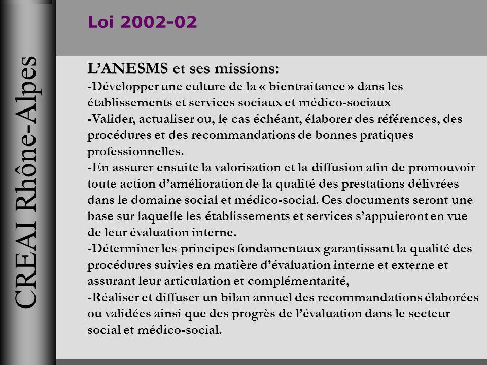 CREAI Rhône-Alpes Loi 2002-02 LANESMS et ses missions: -Développer une culture de la « bientraitance » dans les établissements et services sociaux et