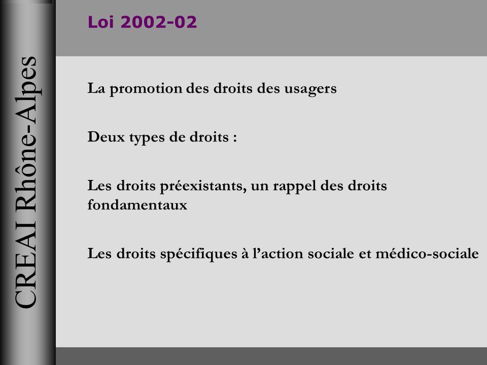 CREAI Rhône-Alpes Loi 2002-02 La promotion des droits des usagers Deux types de droits : Les droits préexistants, un rappel des droits fondamentaux Le