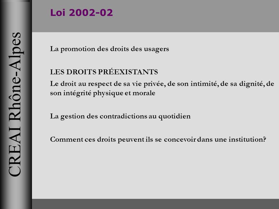 CREAI Rhône-Alpes Loi 2002-02 La promotion des droits des usagers LES DROITS PRÉEXISTANTS Le droit au respect de sa vie privée, de son intimité, de sa