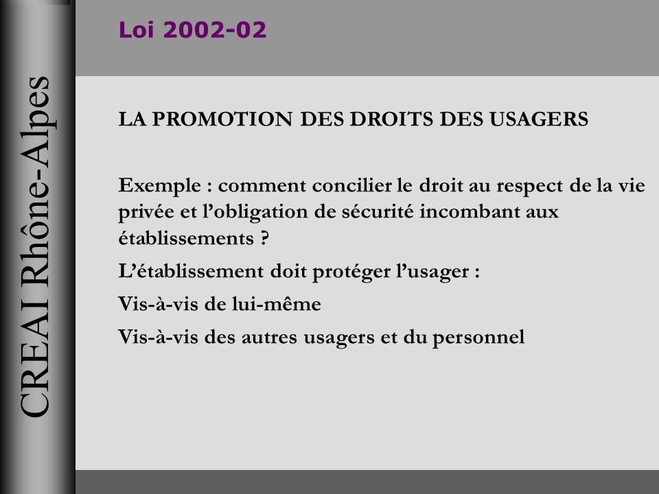 CREAI Rhône-Alpes Loi 2002-02 LA PROMOTION DES DROITS DES USAGERS Exemple : comment concilier le droit au respect de la vie privée et lobligation de s