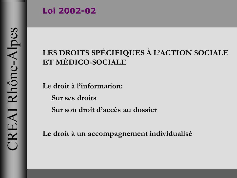 CREAI Rhône-Alpes Loi 2002-02 LES DROITS SPÉCIFIQUES À LACTION SOCIALE ET MÉDICO-SOCIALE Le droit à linformation: Sur ses droits Sur son droit daccès
