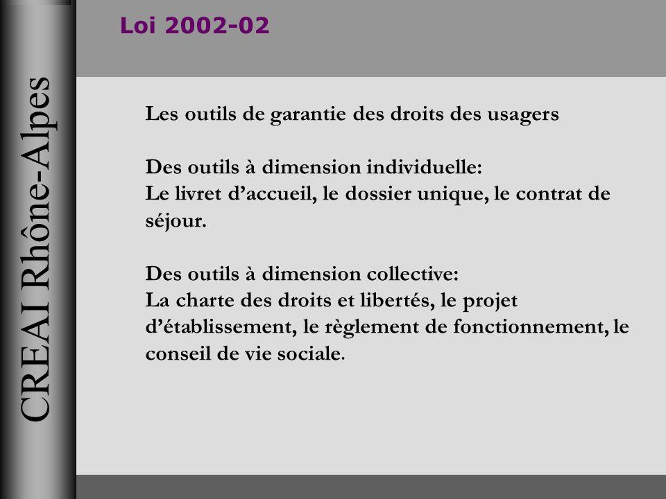 CREAI Rhône-Alpes Loi 2002-02 Les outils de garantie des droits des usagers Des outils à dimension individuelle: Le livret daccueil, le dossier unique