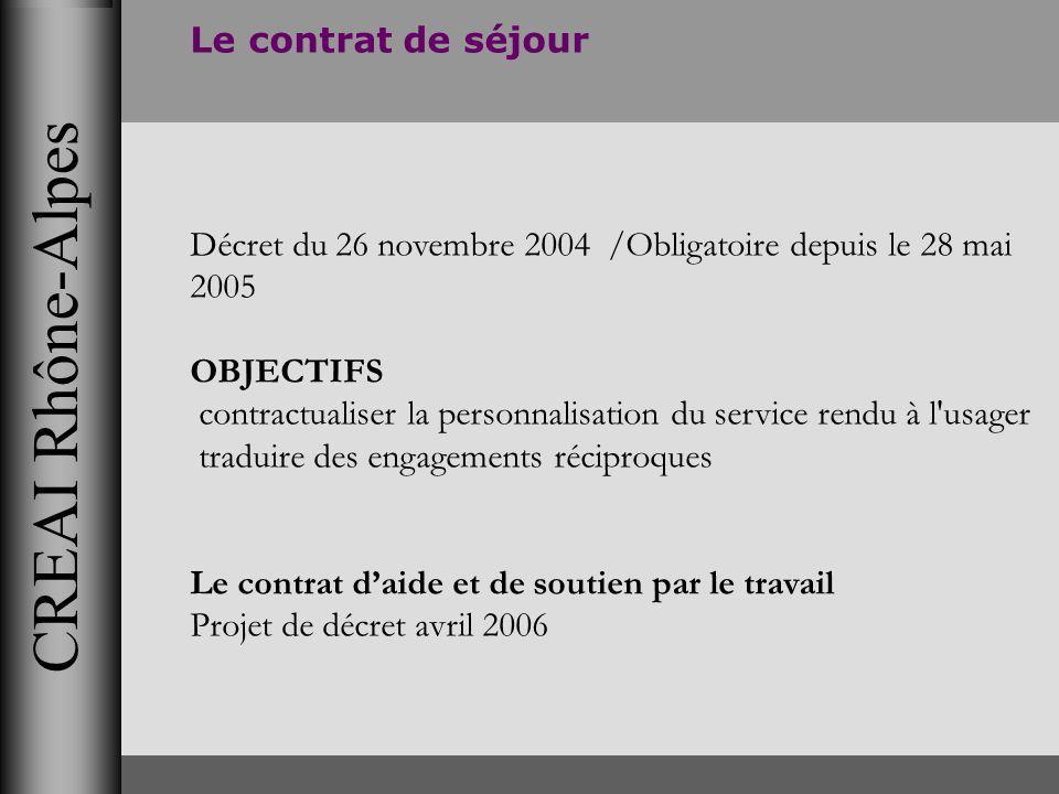 CREAI Rhône-Alpes Le contrat de séjour Décret du 26 novembre 2004 /Obligatoire depuis le 28 mai 2005 OBJECTIFS contractualiser la personnalisation du