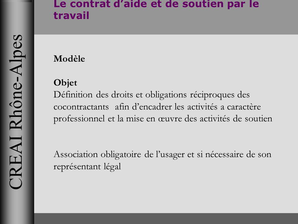 CREAI Rhône-Alpes Le contrat daide et de soutien par le travail Modèle Objet Définition des droits et obligations réciproques des cocontractants afin