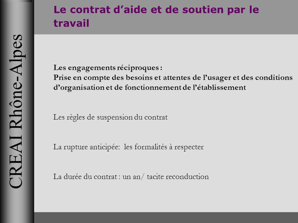 CREAI Rhône-Alpes Le contrat daide et de soutien par le travail Les engagements réciproques : Prise en compte des besoins et attentes de lusager et de
