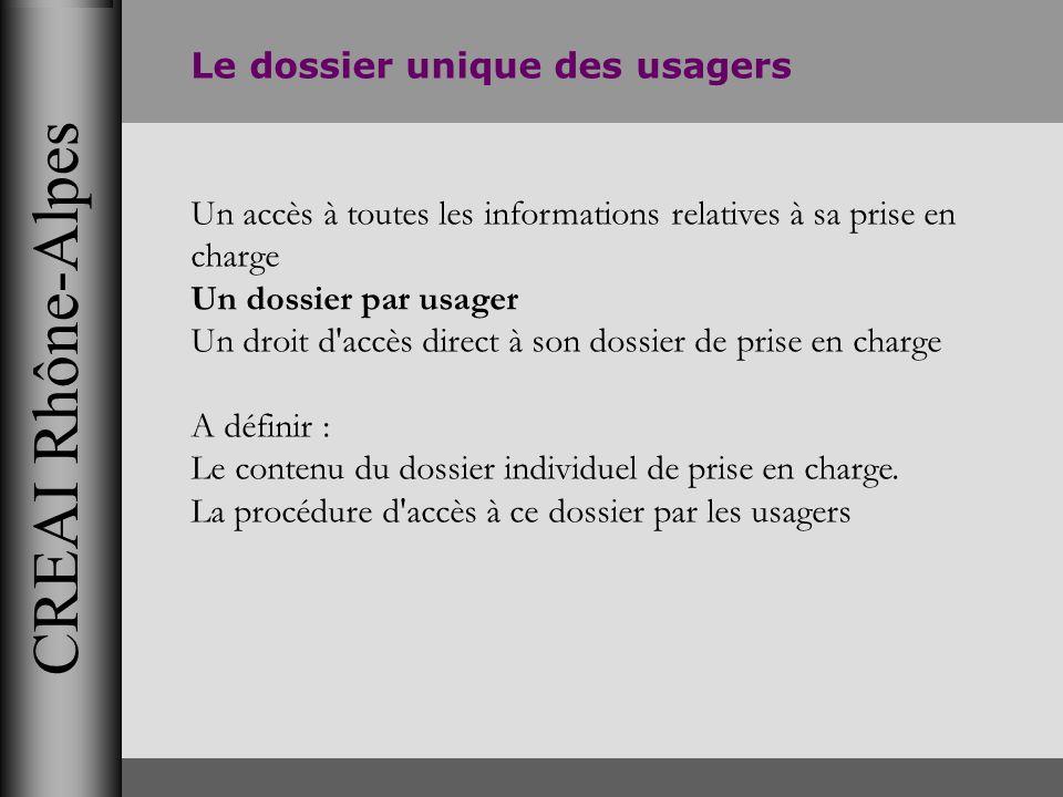 CREAI Rhône-Alpes Le dossier unique des usagers Un accès à toutes les informations relatives à sa prise en charge Un dossier par usager Un droit d'acc