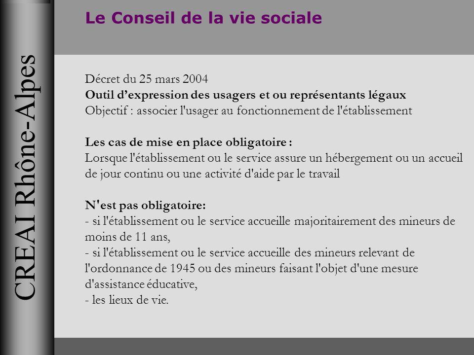 CREAI Rhône-Alpes Le Conseil de la vie sociale Décret du 25 mars 2004 Outil dexpression des usagers et ou représentants légaux Objectif : associer l'u
