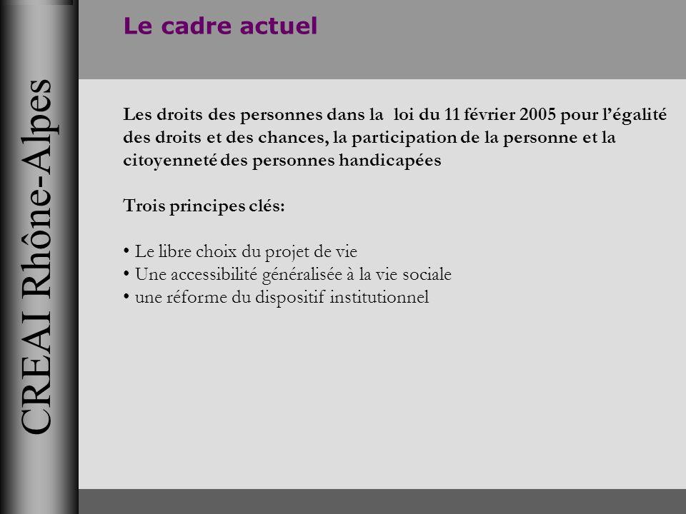 CREAI Rhône-Alpes Le cadre actuel Les droits des personnes dans la loi du 11 février 2005 pour légalité des droits et des chances, la participation de