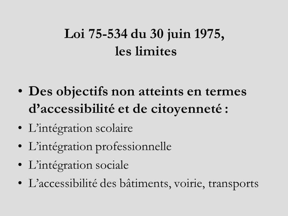 Loi 75-534 du 30 juin 1975, les limites Des objectifs non atteints en termes daccessibilité et de citoyenneté : Lintégration scolaire Lintégration pro