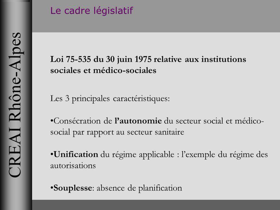 CREAI Rhône-Alpes Le cadre législatif Loi 75-535 du 30 juin 1975 relative aux institutions sociales et médico-sociales Les 3 principales caractéristiq