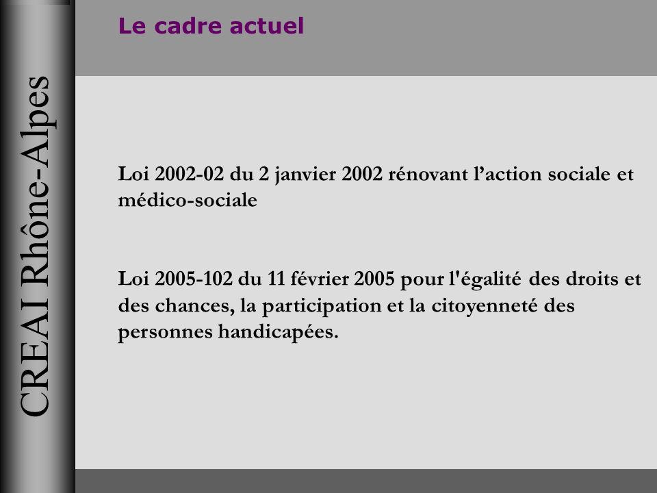 CREAI Rhône-Alpes Le cadre actuel Loi 2002-02 du 2 janvier 2002 rénovant laction sociale et médico-sociale Loi 2005-102 du 11 février 2005 pour l'égal