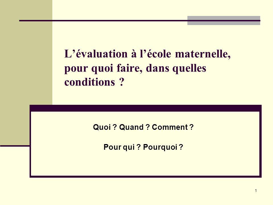22 Pour conclure Lécole maternelle doit recourir à des situations, des démarches dévaluation qui lui sont propres, ne pas « primariser » lévaluation.