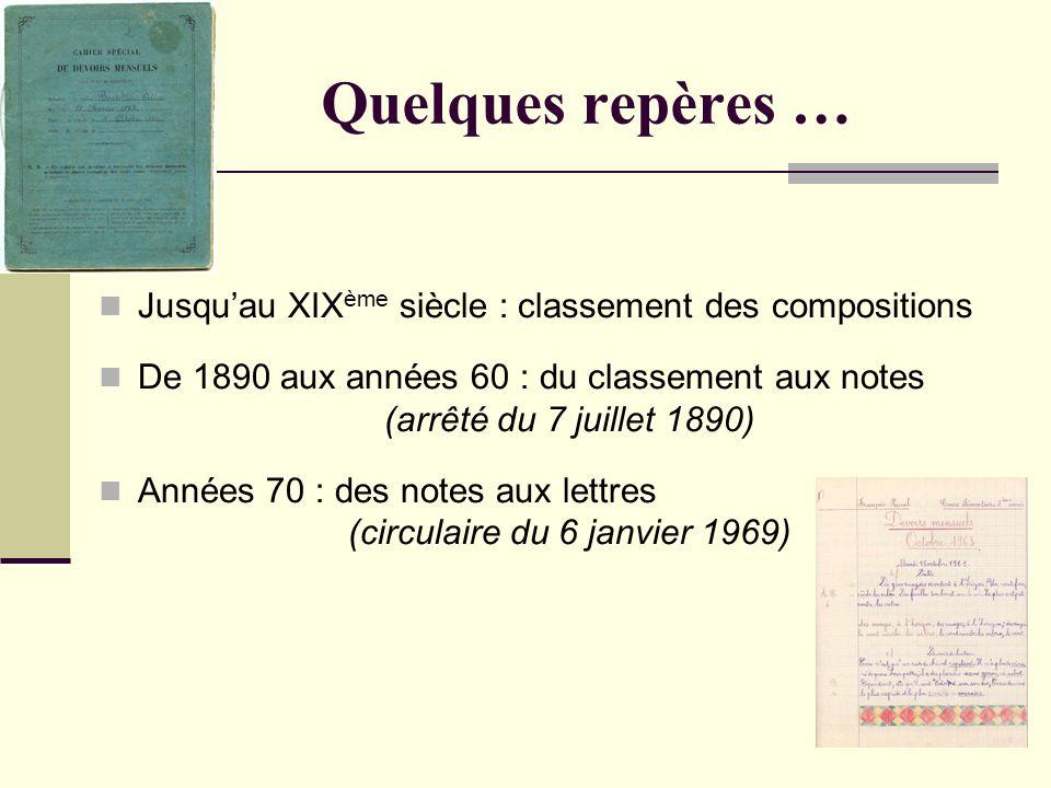 2 Quelques repères … Jusquau XIX ème siècle : classement des compositions De 1890 aux années 60 : du classement aux notes (arrêté du 7 juillet 1890) A