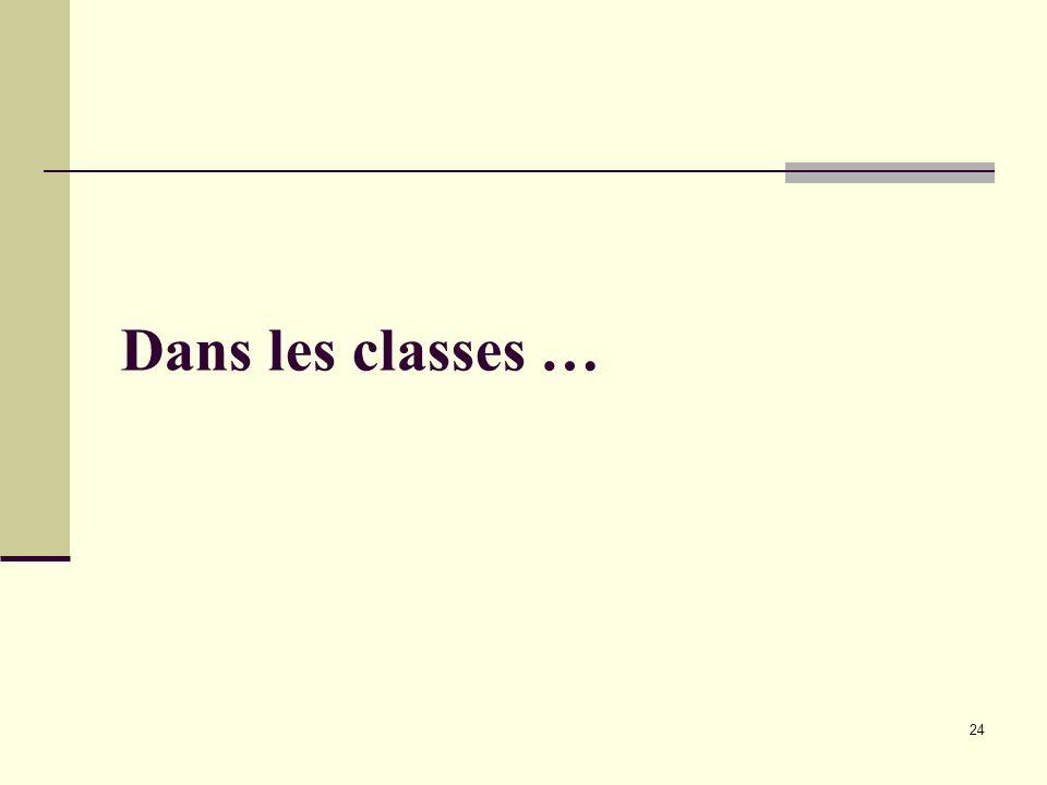 24 Dans les classes …