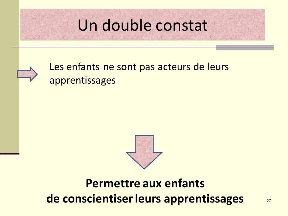 27 Les enfants ne sont pas acteurs de leurs apprentissages Un double constat Permettre aux enfants de conscientiser leurs apprentissages