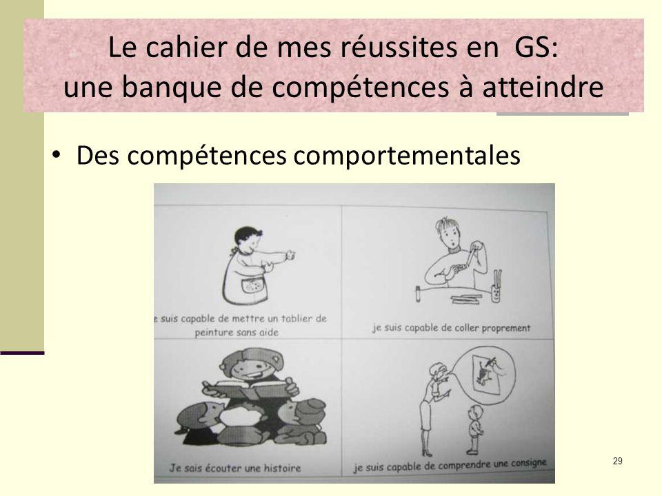 29 Le cahier de mes réussites en GS: une banque de compétences à atteindre Des compétences comportementales