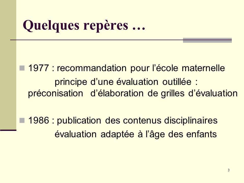 3 Quelques repères … 1977 : recommandation pour lécole maternelle principe dune évaluation outillée : préconisation délaboration de grilles dévaluatio