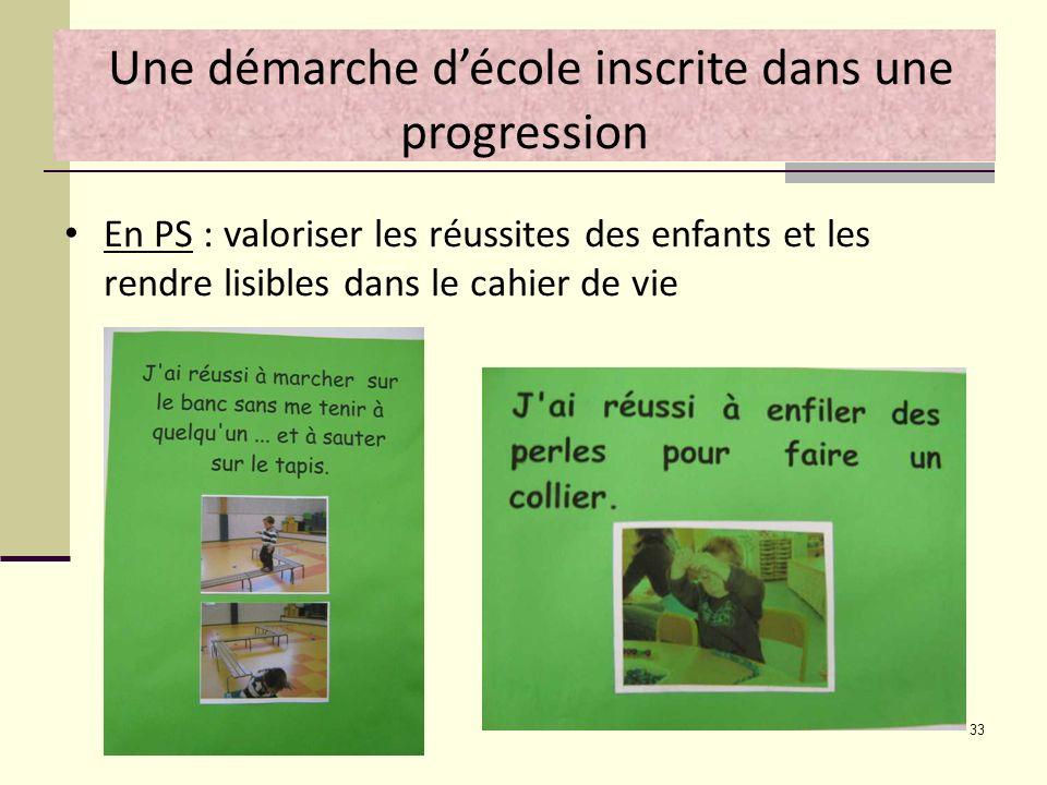 33 Une démarche décole inscrite dans une progression En PS : valoriser les réussites des enfants et les rendre lisibles dans le cahier de vie