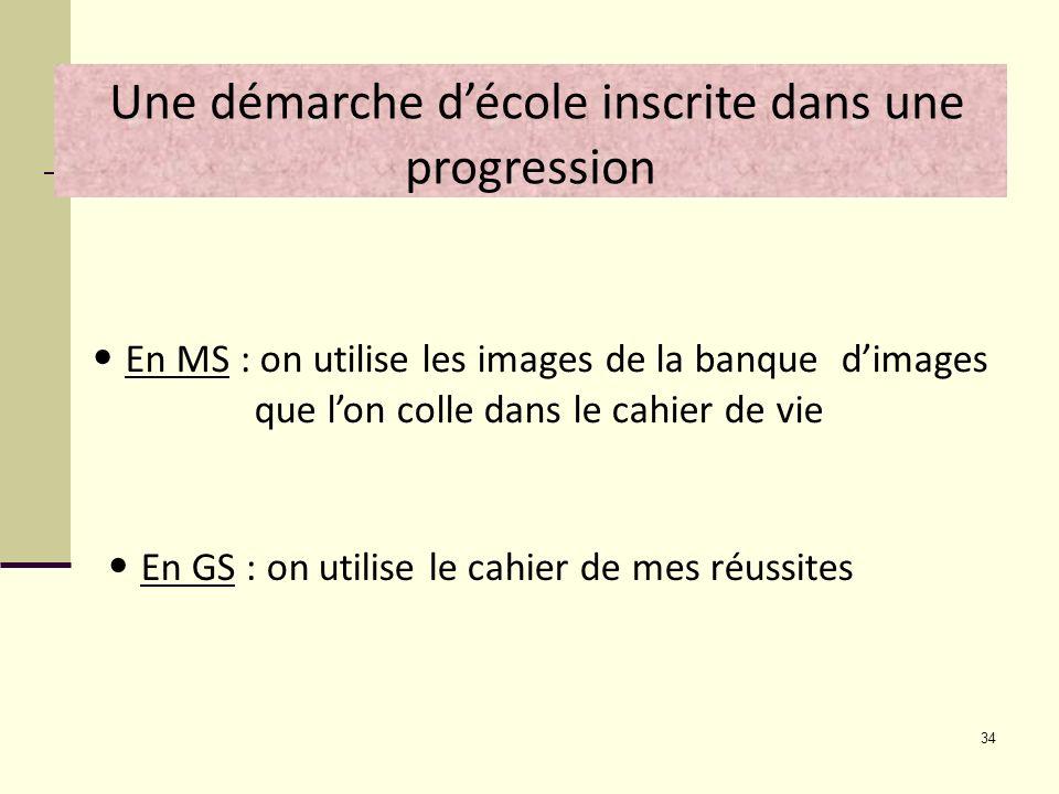 34 Une démarche décole inscrite dans une progression En MS : on utilise les images de la banque dimages que lon colle dans le cahier de vie En GS : on
