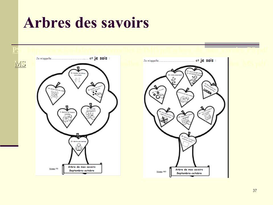 37 Arbres des savoirs PS : http://www.ien-laferte.ac-versailles.fr/IMG/pdf/arbres_de_mes_savoirs_PS.pdf MS MS : http://www.ien-laferte.ac-versailles.f