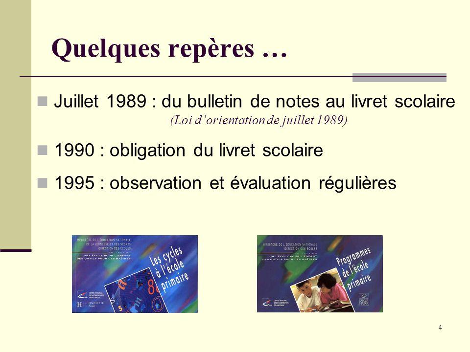 4 Quelques repères … Juillet 1989 : du bulletin de notes au livret scolaire (Loi dorientation de juillet 1989) 1990 : obligation du livret scolaire 19