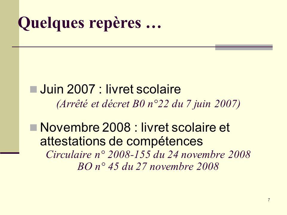 7 Juin 2007 : livret scolaire (Arrêté et décret B0 n°22 du 7 juin 2007) Novembre 2008 : livret scolaire et attestations de compétences Circulaire n° 2