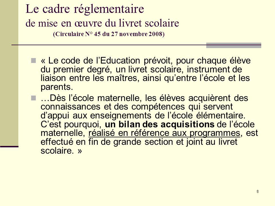 8 Le cadre réglementaire de mise en œuvre du livret scolaire (Circulaire N° 45 du 27 novembre 2008) « Le code de lEducation prévoit, pour chaque élève