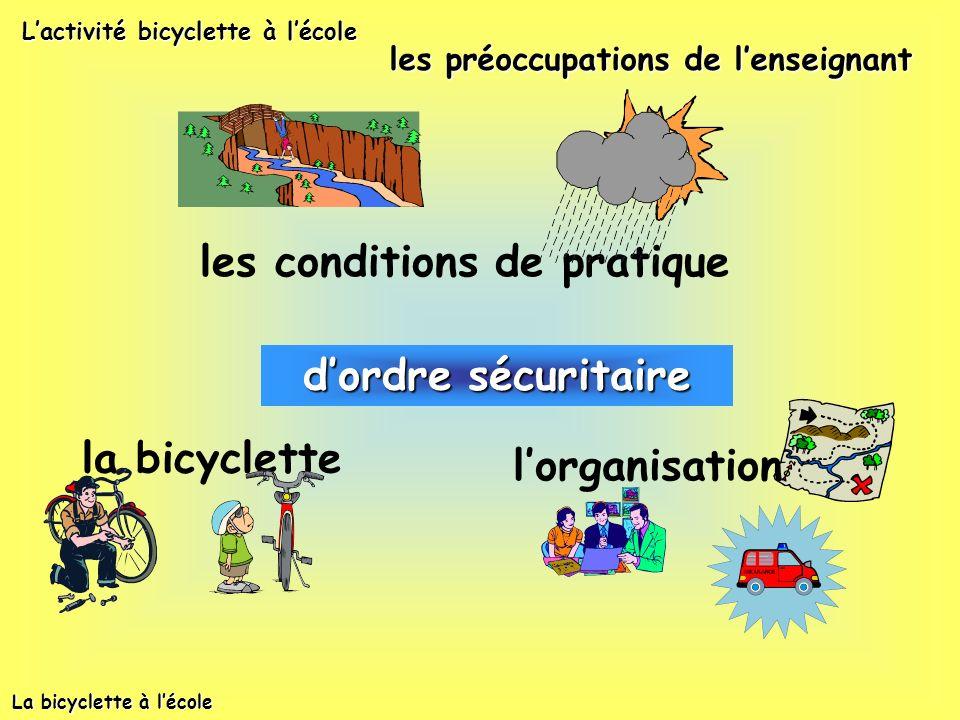 dordre pédagogique la maîtrise de la bicyclette Lactivité bicyclette à lécole les préoccupations de lenseignant ce que les élèves apprennent