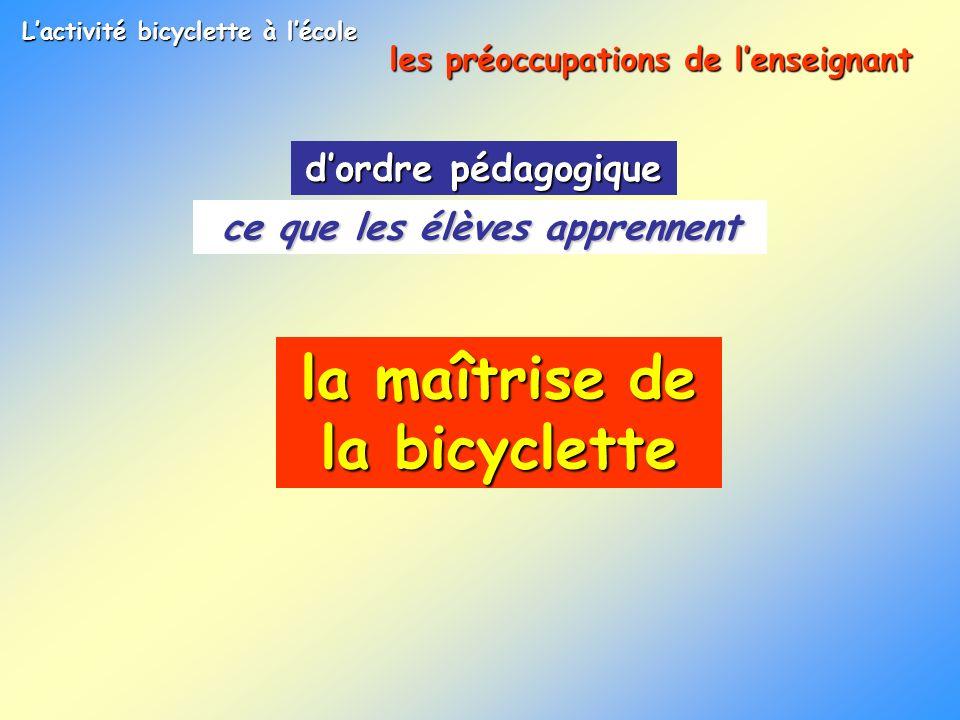La bicyclette à lécole Les problèmes posés par la pratique de la bicyclette piloter se propulser gérer son énergie -produire,-entretenir sa vitesse maîtriser -sa vitesse -sa trajectoire doser son effort boire,salimenter séquilibrer
