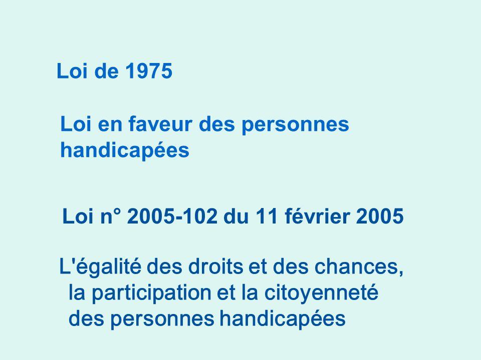 L égalité des droits et des chances, la participation et la citoyenneté des personnes handicapées Loi n° 2005-102 du 11 février 2005 Loi de 1975 Loi en faveur des personnes handicapées