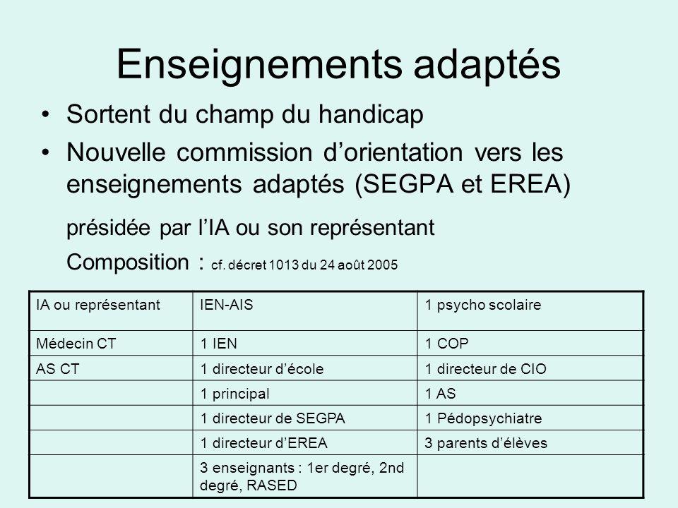 Enseignements adaptés Sortent du champ du handicap Nouvelle commission dorientation vers les enseignements adaptés (SEGPA et EREA) présidée par lIA ou son représentant Composition : cf.