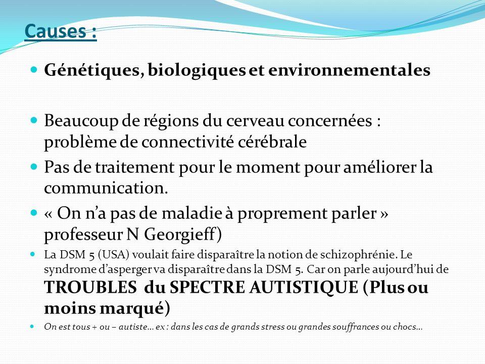 Causes : Génétiques, biologiques et environnementales Beaucoup de régions du cerveau concernées : problème de connectivité cérébrale Pas de traitement