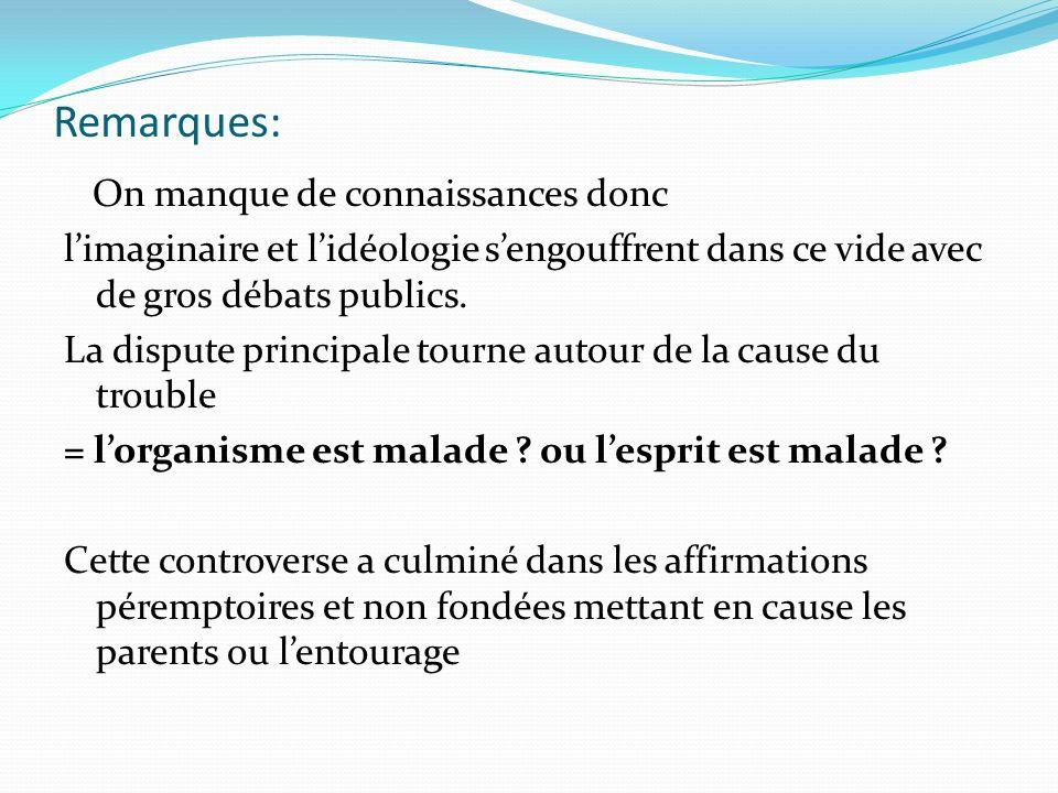 Les classifications de lautisme et des TED N° CIM-10 DSM IV CFTMEACFTMEA qui ne doit plus être utilisée en France selon la Haute Autorité de Santé F.84TED Psychoses précoces (TED) F.84Autisme infantileTroubles autistiques Autisme infantile précoce – type Kanner F.84.1 Autisme atypique Autres troubles envahissants du développement Troubles envahissants du développement non spécifiés incluant lautisme infantile Autres formes de lautisme Psychose précoce déficitaire Retard mental avec troubles autistiques Autres psychoses précoces ou autres TED Dysharmonie psychotique F.84.2Syndrome de Rett Troubles désintégratifs de lenfance F.84.3 Autres troubles désintégratifs de lenfance Troubles désintégratifs de lenfance F.84.4 Troubles hyperactifs avec retard mental et stéréotypies Pas de correspondance F.84.5Syndrome dAspergerSyndrome dAsperger (fin)Syndrome dAsperger