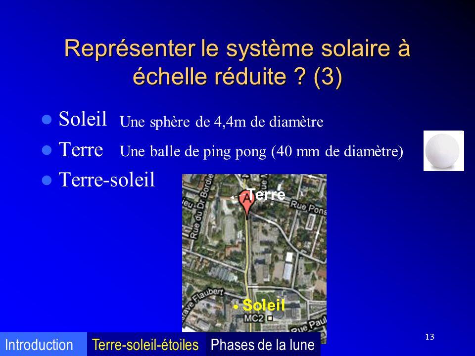 13 Représenter le système solaire à échelle réduite ? (3) Soleil Terre Terre-soleil Une sphère de 4,4m de diamètre Soleil Terre Une balle de ping pong