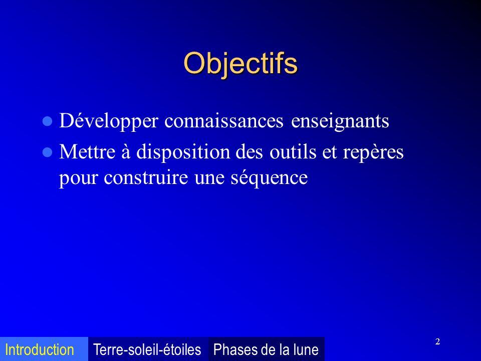 2 Objectifs Développer connaissances enseignants Mettre à disposition des outils et repères pour construire une séquence IntroductionTerre-soleil-étoi