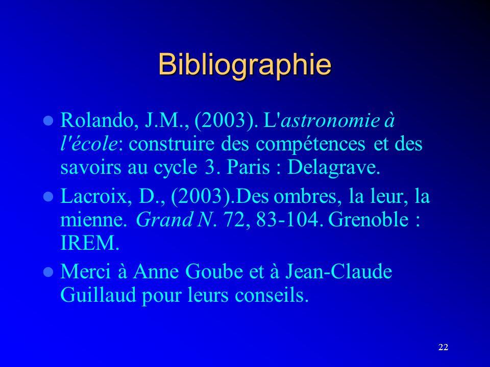 22 Bibliographie Rolando, J.M., (2003). L'astronomie à l'école: construire des compétences et des savoirs au cycle 3. Paris : Delagrave. Lacroix, D.,