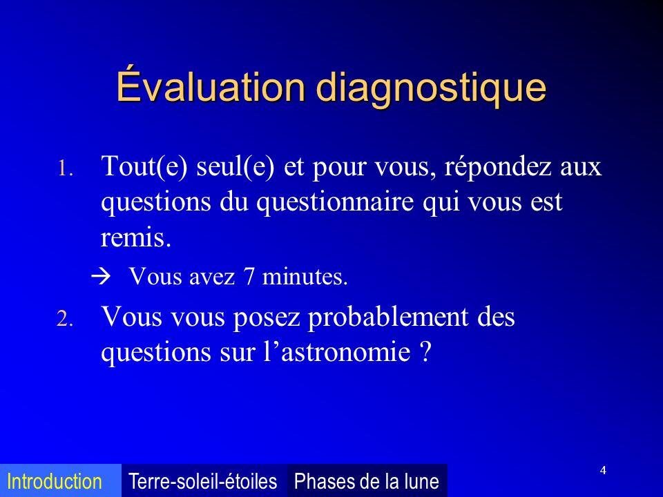 4 Évaluation diagnostique 1. Tout(e) seul(e) et pour vous, répondez aux questions du questionnaire qui vous est remis. Vous avez 7 minutes. 2. Vous vo