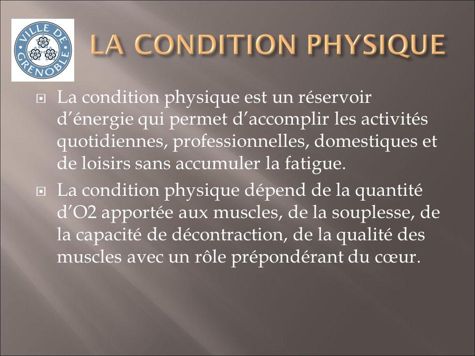 La condition physique est un réservoir dénergie qui permet daccomplir les activités quotidiennes, professionnelles, domestiques et de loisirs sans accumuler la fatigue.