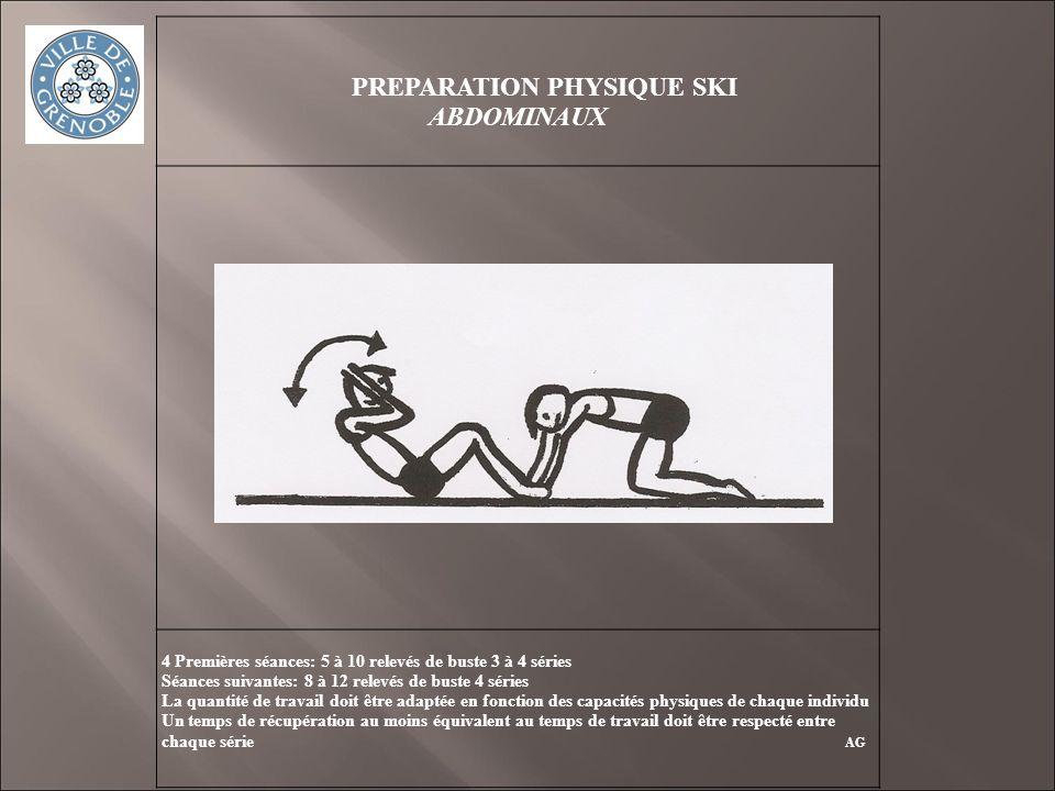 PREPARATION PHYSIQUE SKI ABDOMINAUX 4 Premières séances: 5 à 10 relevés de buste 3 à 4 séries Séances suivantes: 8 à 12 relevés de buste 4 séries La q