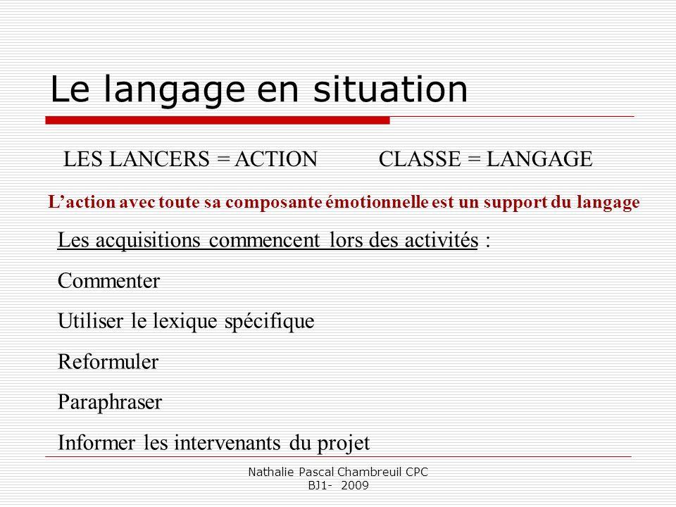 Nathalie Pascal Chambreuil CPC BJ1- 2009 Le langage en situation Laction avec toute sa composante émotionnelle est un support du langage LES LANCERS =