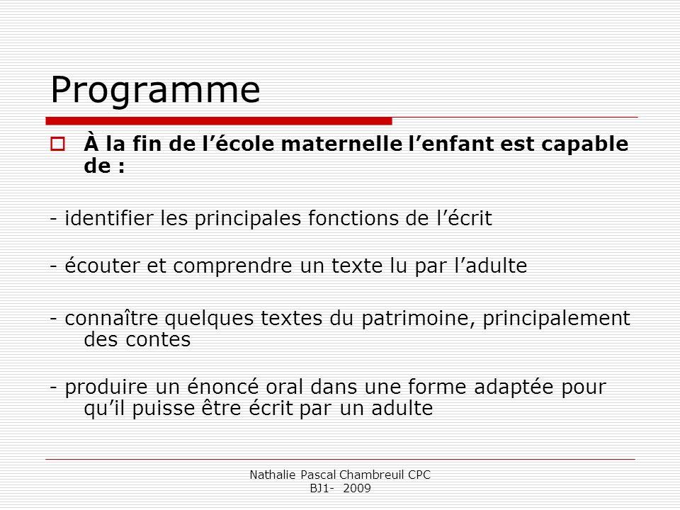 Nathalie Pascal Chambreuil CPC BJ1- 2009 Programme À la fin de lécole maternelle lenfant est capable de : - identifier les principales fonctions de lé