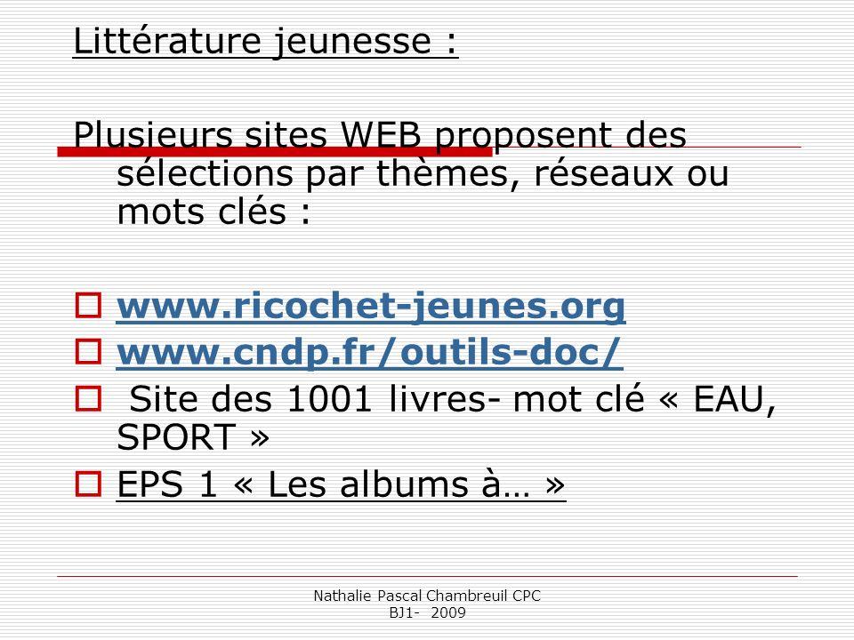Nathalie Pascal Chambreuil CPC BJ1- 2009 Littérature jeunesse : Plusieurs sites WEB proposent des sélections par thèmes, réseaux ou mots clés : www.ri