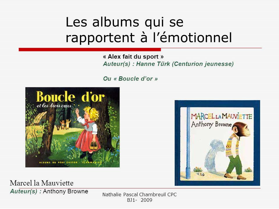 Nathalie Pascal Chambreuil CPC BJ1- 2009 Les albums qui se rapportent à lémotionnel « Alex fait du sport » Auteur(s) : Hanne Türk (Centurion jeunesse)