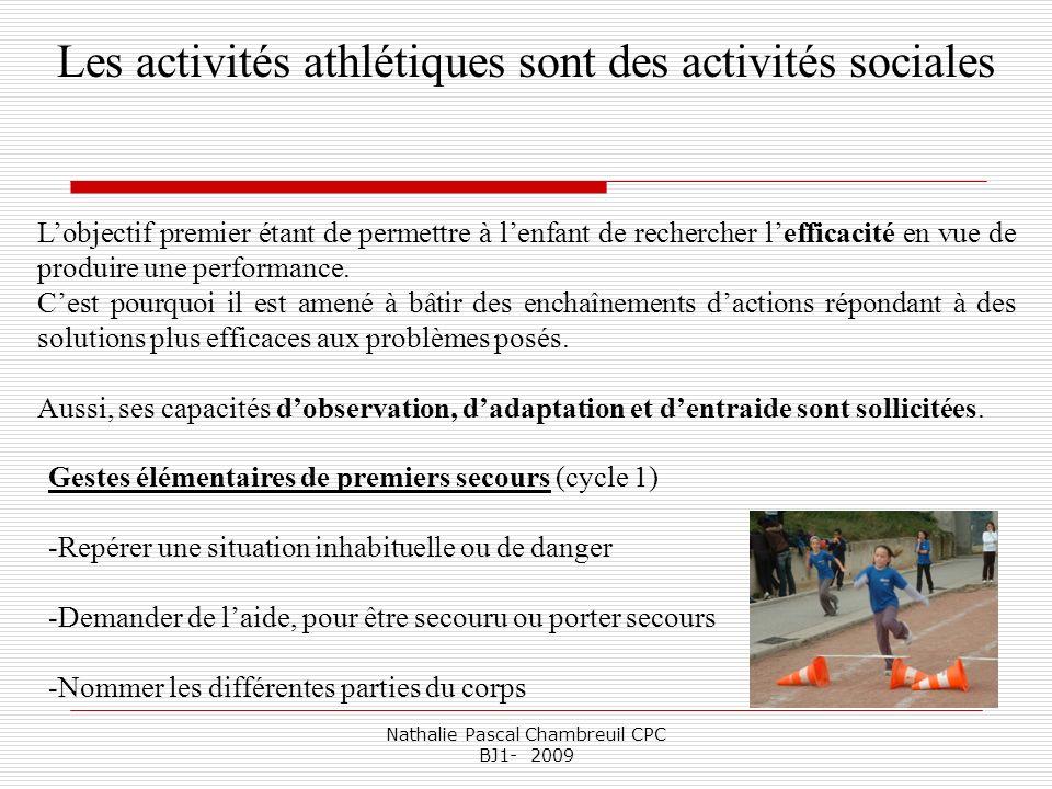Nathalie Pascal Chambreuil CPC BJ1- 2009 Les activités athlétiques sont des activités sociales Lobjectif premier étant de permettre à lenfant de reche