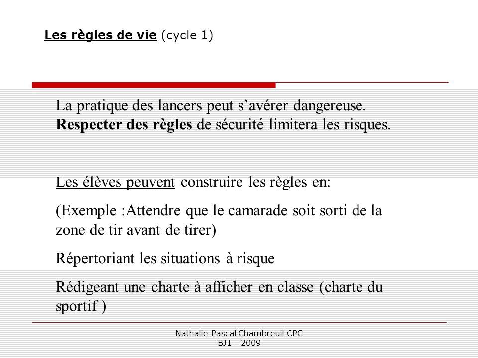 Nathalie Pascal Chambreuil CPC BJ1- 2009 La pratique des lancers peut savérer dangereuse. Respecter des règles de sécurité limitera les risques. Les é
