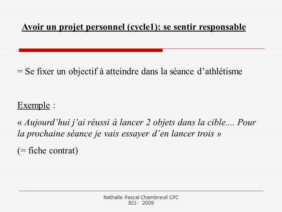 Nathalie Pascal Chambreuil CPC BJ1- 2009 Avoir un projet personnel (cycle1): se sentir responsable = Se fixer un objectif à atteindre dans la séance d