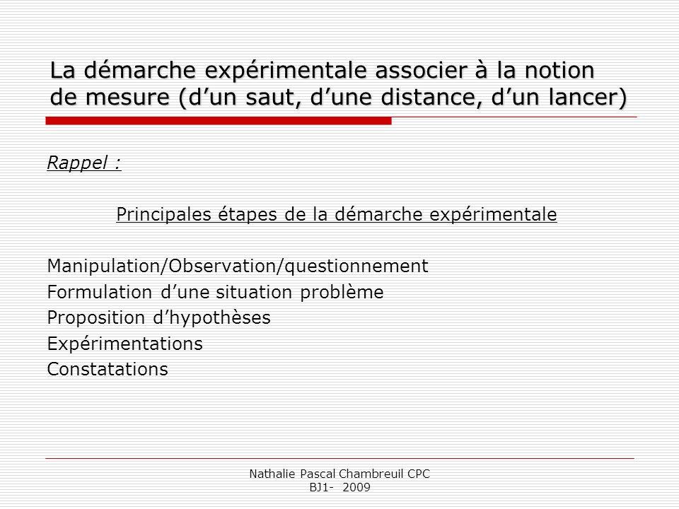 Nathalie Pascal Chambreuil CPC BJ1- 2009 La démarche expérimentale associer à la notion de mesure (dun saut, dune distance, dun lancer) Rappel : Princ