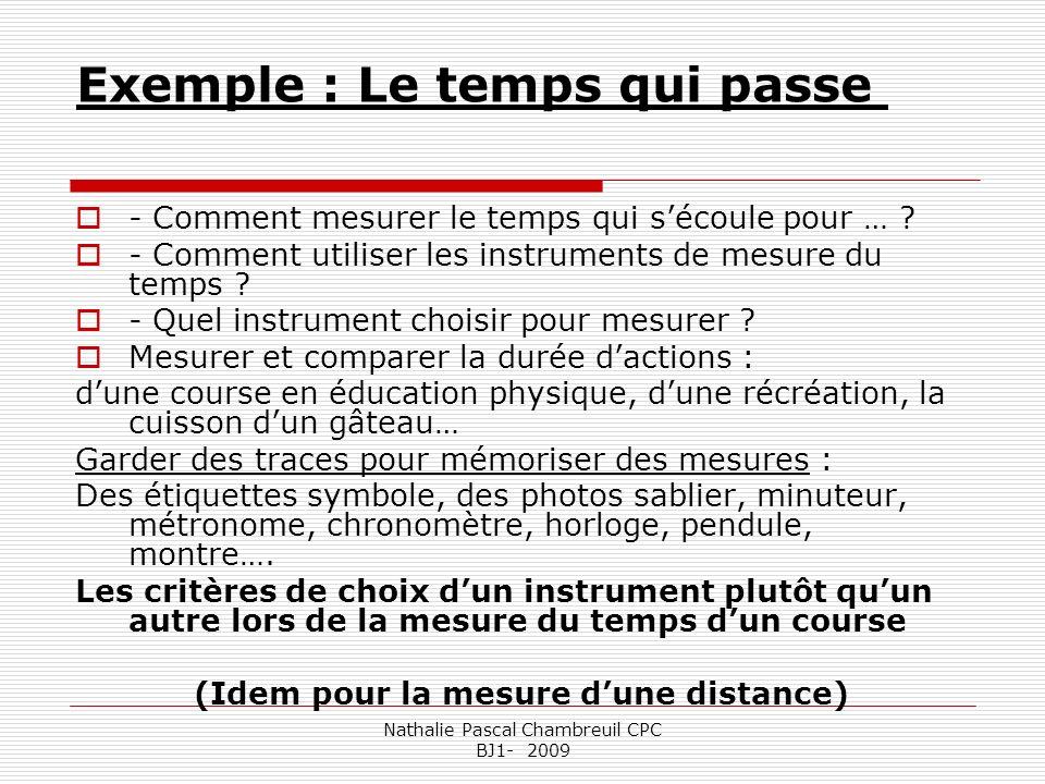 Nathalie Pascal Chambreuil CPC BJ1- 2009 Exemple : Le temps qui passe - Comment mesurer le temps qui sécoule pour … ? - Comment utiliser les instrumen
