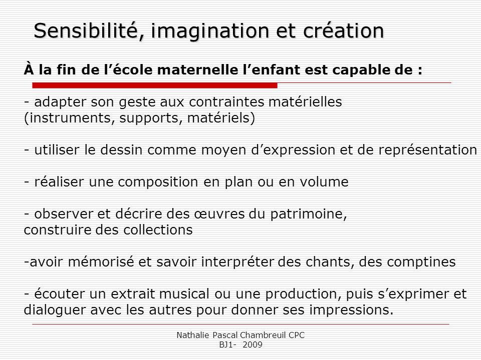 Nathalie Pascal Chambreuil CPC BJ1- 2009 Sensibilité, imagination et création À la fin de lécole maternelle lenfant est capable de : - adapter son ges